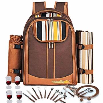 apollo walker Picknick-Rucksack für 4 Personen mit Kühlfach, abnehmbarem Flaschen-/Weinhalter, Fleece-Decke, Teller und Besteck-Set, perfekt für Outdoor, Sport, Wandern, Camping, Grillen (Kaffee) - 2