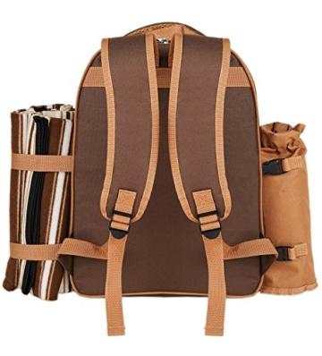 apollo walker Picknick-Rucksack für 4 Personen mit Kühlfach, abnehmbarem Flaschen-/Weinhalter, Fleece-Decke, Teller und Besteck-Set, perfekt für Outdoor, Sport, Wandern, Camping, Grillen (Kaffee) - 3