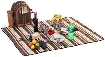 apollo walker Picknick-Rucksack für 4 Personen mit Kühlfach, abnehmbarem Flaschen-/Weinhalter, Fleece-Decke, Teller und Besteck-Set, perfekt für Outdoor, Sport, Wandern, Camping, Grillen (Kaffee) - 4