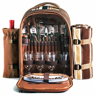 apollo walker Picknick-Rucksack für 4 Personen mit Kühlfach, abnehmbarem Flaschen-/Weinhalter, Fleece-Decke, Teller und Besteck-Set, perfekt für Outdoor, Sport, Wandern, Camping, Grillen (Kaffee) - 1