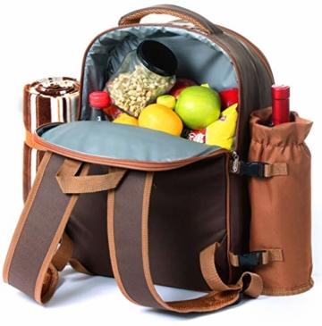 apollo walker Picknick-Rucksack für 4 Personen mit Kühlfach, abnehmbarem Flaschen-/Weinhalter, Fleece-Decke, Teller und Besteck-Set, perfekt für Outdoor, Sport, Wandern, Camping, Grillen (Kaffee) - 5