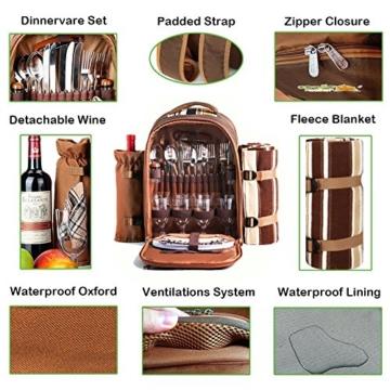 apollo walker Picknick-Rucksack für 4 Personen mit Kühlfach, abnehmbarem Flaschen-/Weinhalter, Fleece-Decke, Teller und Besteck-Set, perfekt für Outdoor, Sport, Wandern, Camping, Grillen (Kaffee) - 6
