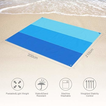 AWAVO Picknickmatte Stranddecke, extra große 200 * 210cm wasserdichte sandfreie Picknickdecke, schnell trocknende Strandmatte für Reisen, Camping, Wandern und Musikfestivals - 3