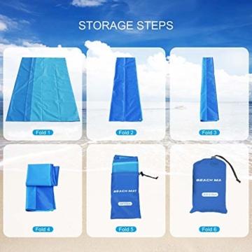 AWAVO Picknickmatte Stranddecke, extra große 200 * 210cm wasserdichte sandfreie Picknickdecke, schnell trocknende Strandmatte für Reisen, Camping, Wandern und Musikfestivals - 4