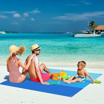 AWAVO Picknickmatte Stranddecke, extra große 200 * 210cm wasserdichte sandfreie Picknickdecke, schnell trocknende Strandmatte für Reisen, Camping, Wandern und Musikfestivals - 6