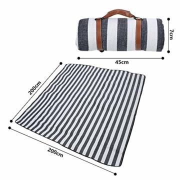 BMOT Picknickdecke 200 X 200CM Stranddecke Tragbar PEVA Wasserdicht Campingdecke Wärmeisoliert Strandmatte für den Außenbereich Picknicks Camping Strand (Blaue-Weiße-Streifen) - 3