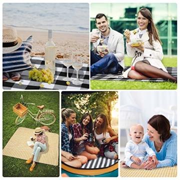 BMOT Picknickdecke 200 X 200CM Stranddecke Tragbar PEVA Wasserdicht Campingdecke Wärmeisoliert Strandmatte für den Außenbereich Picknicks Camping Strand (Blaue-Weiße-Streifen) - 4