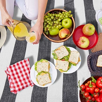 BMOT Picknickdecke 200 X 200CM Stranddecke Tragbar PEVA Wasserdicht Campingdecke Wärmeisoliert Strandmatte für den Außenbereich Picknicks Camping Strand (Blaue-Weiße-Streifen) - 7