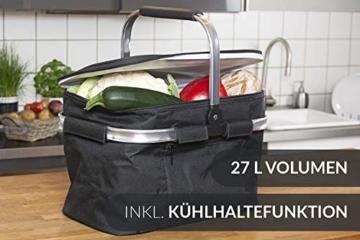 Chefarone Einkaufskorb faltbar mit Kühlfunktion schwarz - Kühlkorb mit Deckel extra groß - Einkaufskorb faltbar Thermo - Picknickkorb Kühltasche - 27 L Fassungsvermögen (Schwarz) - 2