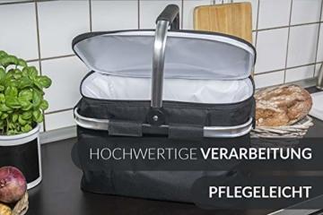 Chefarone Einkaufskorb faltbar mit Kühlfunktion schwarz - Kühlkorb mit Deckel extra groß - Einkaufskorb faltbar Thermo - Picknickkorb Kühltasche - 27 L Fassungsvermögen (Schwarz) - 3
