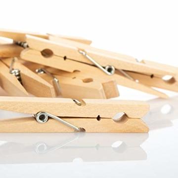 com-four® 100x Wäscheklammern XXL aus Holz - Nachhaltige Holzklammern aus Birkenholz - unbehandelte Holzwäscheklammern zum Wäscheaufhängen, ca. 10 cm (100 Stück - Birke - XXL) - 2