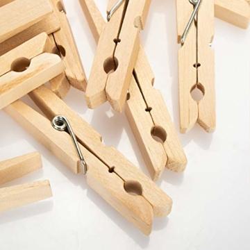 com-four® 100x Wäscheklammern XXL aus Holz - Nachhaltige Holzklammern aus Birkenholz - unbehandelte Holzwäscheklammern zum Wäscheaufhängen, ca. 10 cm (100 Stück - Birke - XXL) - 4