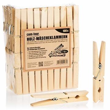 com-four® 100x Wäscheklammern XXL aus Holz - Nachhaltige Holzklammern aus Birkenholz - unbehandelte Holzwäscheklammern zum Wäscheaufhängen, ca. 10 cm (100 Stück - Birke - XXL) - 1