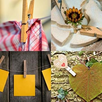 com-four® 60x Wäscheklammern aus Holz - Nachhaltige Holzklammern aus Birkenholz - unbehandelte Holzwäscheklammern zum Wäscheaufhängen und Basteln (060 Stück - Birke) - 3