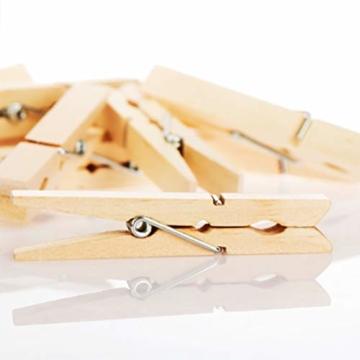 com-four® 60x Wäscheklammern aus Holz - Nachhaltige Holzklammern aus Birkenholz - unbehandelte Holzwäscheklammern zum Wäscheaufhängen und Basteln (060 Stück - Birke) - 4