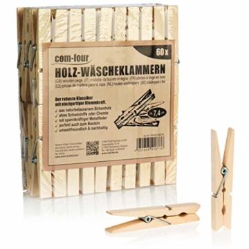 com-four® 60x Wäscheklammern aus Holz - Nachhaltige Holzklammern aus Birkenholz - unbehandelte Holzwäscheklammern zum Wäscheaufhängen und Basteln (060 Stück - Birke) - 1