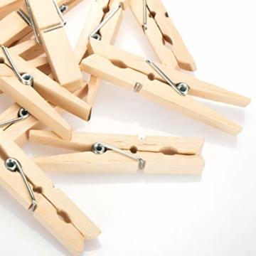 com-four® 60x Wäscheklammern aus Holz - Nachhaltige Holzklammern aus Birkenholz - unbehandelte Holzwäscheklammern zum Wäscheaufhängen und Basteln (060 Stück - Birke) - 5