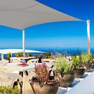 Cool Area Sonnensegel Wasserdicht Rechteckig 2.5 x 3.5 Meter, Sonnenschutz Wasserabweisend Polyester für Garten und Balkon, Grau - 3