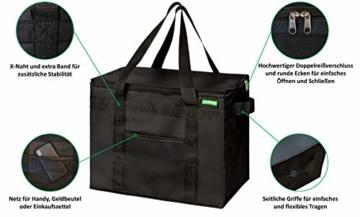 COTTARA Neu Premium Kühltasche faltbar 2er Pack – Einkaufstasche groß mit verstärktem faltbarem Boden – Ideal als Isoliertasche, Einkaufskorb, Picknicktasche (Schwarz, 40 x 24 x 31 cm) - 2