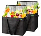 COTTARA Neu Premium Kühltasche faltbar 2er Pack – Einkaufstasche groß mit verstärktem faltbarem Boden – Ideal als Isoliertasche, Einkaufskorb, Picknicktasche (Schwarz, 40 x 24 x 31 cm) - 1