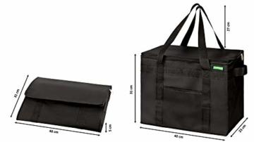 COTTARA Neu Premium Kühltasche faltbar 2er Pack – Einkaufstasche groß mit verstärktem faltbarem Boden – Ideal als Isoliertasche, Einkaufskorb, Picknicktasche (Schwarz, 40 x 24 x 31 cm) - 3