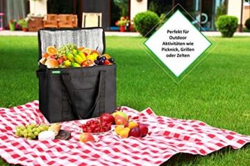COTTARA Neu Premium Kühltasche faltbar 2er Pack – Einkaufstasche groß mit verstärktem faltbarem Boden – Ideal als Isoliertasche, Einkaufskorb, Picknicktasche (Schwarz, 40 x 24 x 31 cm) - 4