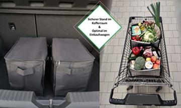 COTTARA Neu Premium Kühltasche faltbar 2er Pack – Einkaufstasche groß mit verstärktem faltbarem Boden – Ideal als Isoliertasche, Einkaufskorb, Picknicktasche (Schwarz, 40 x 24 x 31 cm) - 5