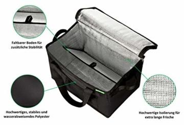 COTTARA Neu Premium Kühltasche faltbar 2er Pack – Einkaufstasche groß mit verstärktem faltbarem Boden – Ideal als Isoliertasche, Einkaufskorb, Picknicktasche (Schwarz, 40 x 24 x 31 cm) - 6