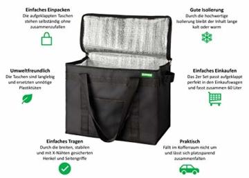COTTARA Neu Premium Kühltasche faltbar 2er Pack – Einkaufstasche groß mit verstärktem faltbarem Boden – Ideal als Isoliertasche, Einkaufskorb, Picknicktasche (Schwarz, 40 x 24 x 31 cm) - 7