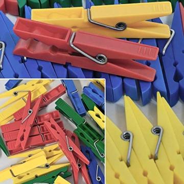 Deuba Wäscheklammern 200 Stück Kunststoff Extra Starke Feder mit Verzinktem Stahldraht Witterungsbeständig in 4 Farben - 2
