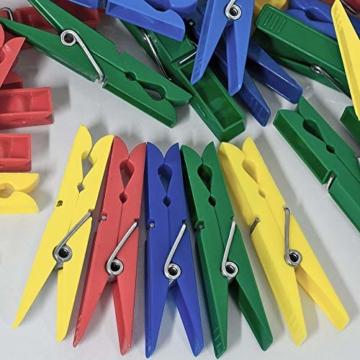 Deuba Wäscheklammern 200 Stück Kunststoff Extra Starke Feder mit Verzinktem Stahldraht Witterungsbeständig in 4 Farben - 3