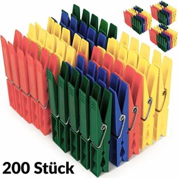 Deuba Wäscheklammern 200 Stück Kunststoff Extra Starke Feder mit Verzinktem Stahldraht Witterungsbeständig in 4 Farben - 4