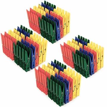 Deuba Wäscheklammern 200 Stück Kunststoff Extra Starke Feder mit Verzinktem Stahldraht Witterungsbeständig in 4 Farben - 5