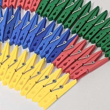 Deuba Wäscheklammern 200 Stück Kunststoff Extra Starke Feder mit Verzinktem Stahldraht Witterungsbeständig in 4 Farben - 6