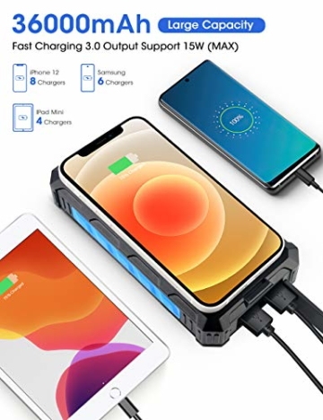 DJROLL 36000mAh Qi Wireless Solar Powerbank mit 4 USB/Typ C Ausgängen und LED-Lampe, Tragbares Outdoor Wasserdichtem Power Bank Solarpanel Kompatibel für iPhone Samsung Smartphones - 2