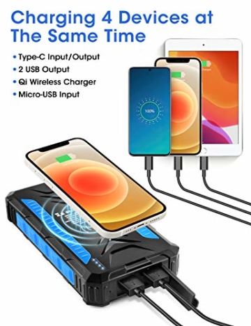 DJROLL 36000mAh Qi Wireless Solar Powerbank mit 4 USB/Typ C Ausgängen und LED-Lampe, Tragbares Outdoor Wasserdichtem Power Bank Solarpanel Kompatibel für iPhone Samsung Smartphones - 3