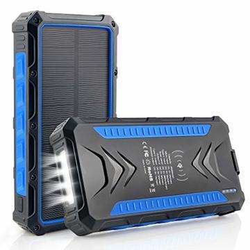DJROLL 36000mAh Qi Wireless Solar Powerbank mit 4 USB/Typ C Ausgängen und LED-Lampe, Tragbares Outdoor Wasserdichtem Power Bank Solarpanel Kompatibel für iPhone Samsung Smartphones - 1