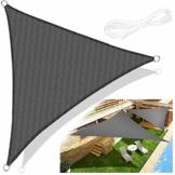 Emooqi Sonnensegel Dreieck Rechtwinklig, Sonnensegel Dreieckig 3x3x3M Sonnenschutz Atmungsaktiv HDPE UV Schutz, Permeable Canopy für Terrasse, Balkon und Garten -Dunkelgrau - 1