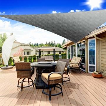 Emooqi Sonnensegel Dreieck Rechtwinklig, Sonnensegel Dreieckig 3x3x3M Sonnenschutz Atmungsaktiv HDPE UV Schutz, Permeable Canopy für Terrasse, Balkon und Garten -Dunkelgrau - 7