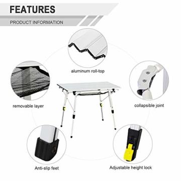 EVER ADVANCED Aluminium Campingtisch klappbar Klapptisch faltbar tragbar leicht Falttisch Tischbein Höheneinstellbar Tischplatte Größe 89.9 x 53cm - 3