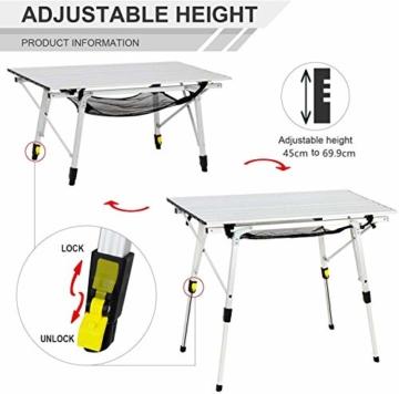 EVER ADVANCED Aluminium Campingtisch klappbar Klapptisch faltbar tragbar leicht Falttisch Tischbein Höheneinstellbar Tischplatte Größe 89.9 x 53cm - 4