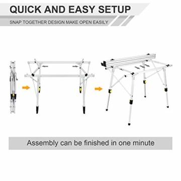 EVER ADVANCED Aluminium Campingtisch klappbar Klapptisch faltbar tragbar leicht Falttisch Tischbein Höheneinstellbar Tischplatte Größe 89.9 x 53cm - 5