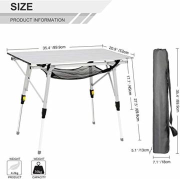 EVER ADVANCED Aluminium Campingtisch klappbar Klapptisch faltbar tragbar leicht Falttisch Tischbein Höheneinstellbar Tischplatte Größe 89.9 x 53cm - 6