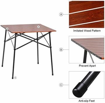 EVER ADVANCED Campingtisch Klapptisch mit Aluminium Tischplatte faltbar leicht klappbar tragbar mit Tragetasche 70 x 70cm für Camping Garten Party Picknick Balkon braun - 3