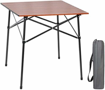 EVER ADVANCED Campingtisch Klapptisch mit Aluminium Tischplatte faltbar leicht klappbar tragbar mit Tragetasche 70 x 70cm für Camping Garten Party Picknick Balkon braun - 1