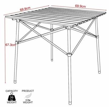 EVER ADVANCED Campingtisch Klapptisch mit Aluminium Tischplatte faltbar leicht klappbar tragbar mit Tragetasche 70 x 70cm für Camping Garten Party Picknick Balkon braun - 5