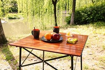 EVER ADVANCED Campingtisch Klapptisch mit Aluminium Tischplatte faltbar leicht klappbar tragbar mit Tragetasche 70 x 70cm für Camping Garten Party Picknick Balkon braun - 6