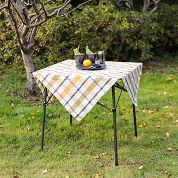 EVER ADVANCED Campingtisch Klapptisch mit Aluminium Tischplatte faltbar leicht klappbar tragbar mit Tragetasche 70 x 70cm für Camping Garten Party Picknick Balkon braun - 7