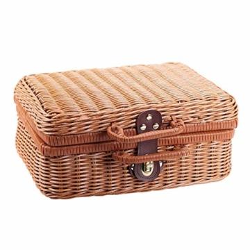 Gaoominy Reise Picknick Korb Hand Gemachte Wicker Aufbewahrungs Koffer Vintage Koffer Requisiten Box Weben Bambus Boxen Au?en Rattan Organizer - 2