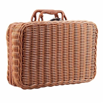 Gaoominy Reise Picknick Korb Hand Gemachte Wicker Aufbewahrungs Koffer Vintage Koffer Requisiten Box Weben Bambus Boxen Au?en Rattan Organizer - 3
